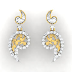 diamond studded gold jewellery - Raley Dangler Earring - Pristine Fire - 2