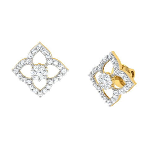 diamond studded gold jewellery - Aviana Earring Tops - Pristine Fire - 1