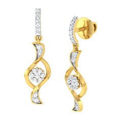 diamond studded gold jewellery - Oma Dangler Earring - Pristine Fire - 1