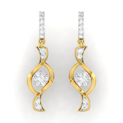 diamond studded gold jewellery - Oma Dangler Earring - Pristine Fire - 2