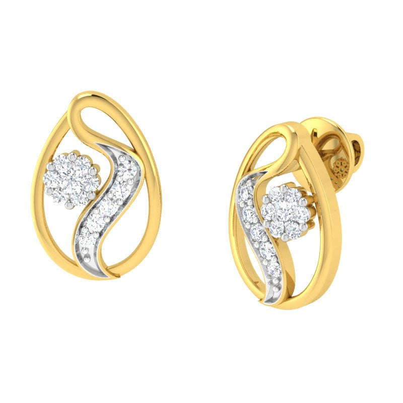 diamond studded gold jewellery - Gitel Earring Tops - Pristine Fire - 1