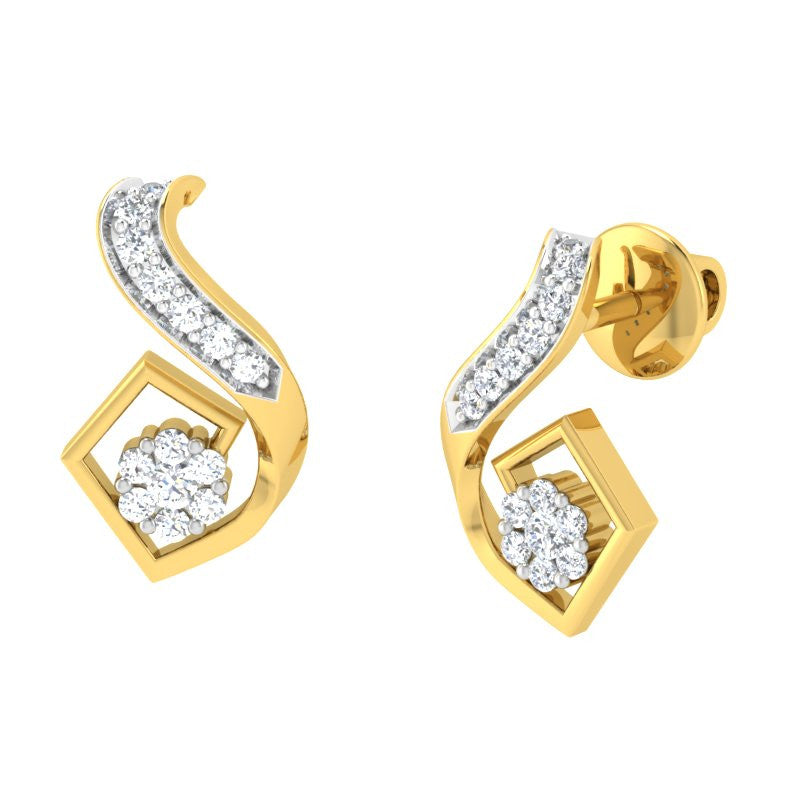 diamond studded gold jewellery - Morgane Earring Tops - Pristine Fire - 1