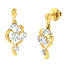 diamond studded gold jewellery - Tarsilia Dangler Earring - Pristine Fire - 1