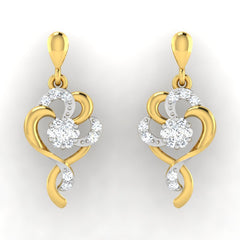 diamond studded gold jewellery - Tarsilia Dangler Earring - Pristine Fire - 2