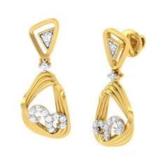 diamond studded gold jewellery - Warda Dangler Earring - Pristine Fire - 1