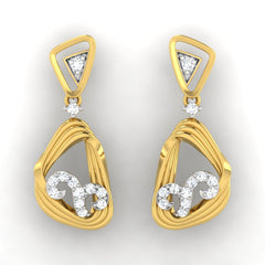 diamond studded gold jewellery - Warda Dangler Earring - Pristine Fire - 2