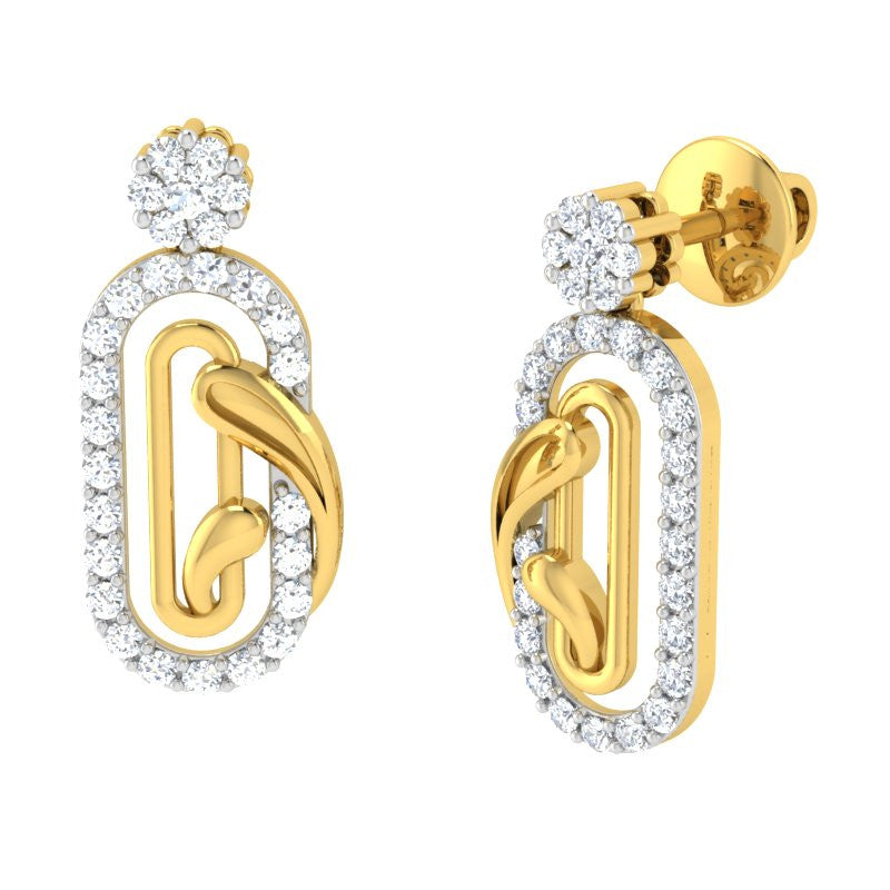 diamond studded gold jewellery - Emmylou Dangler Earring - Pristine Fire - 1