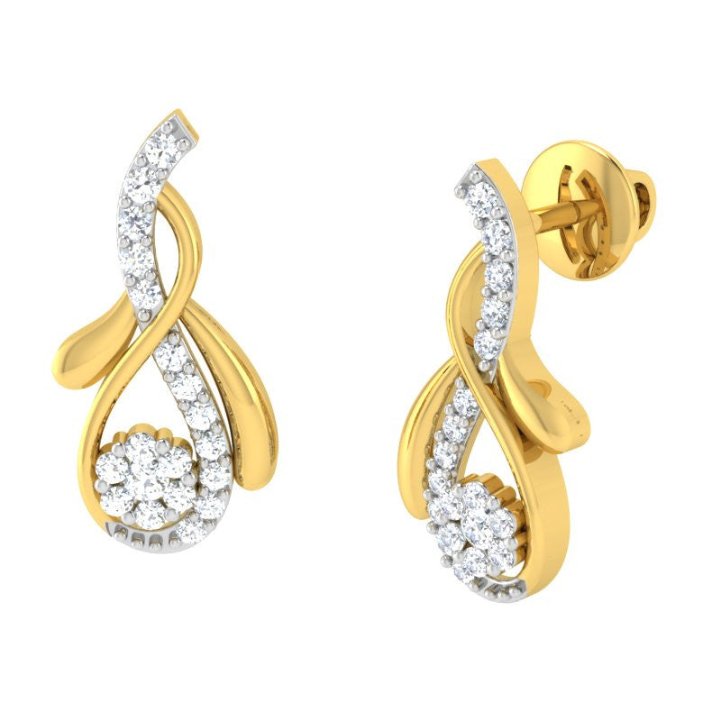 diamond studded gold jewellery - Halina Earring Tops - Pristine Fire - 1