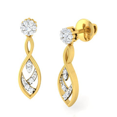 diamond studded gold jewellery - Samaria Dangler Earring - Pristine Fire - 1