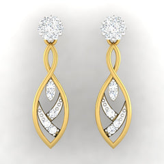 diamond studded gold jewellery - Samaria Dangler Earring - Pristine Fire - 2