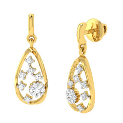 diamond studded gold jewellery - Raneisha Dangler Earring - Pristine Fire - 1