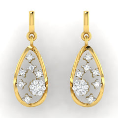 diamond studded gold jewellery - Raneisha Dangler Earring - Pristine Fire - 2