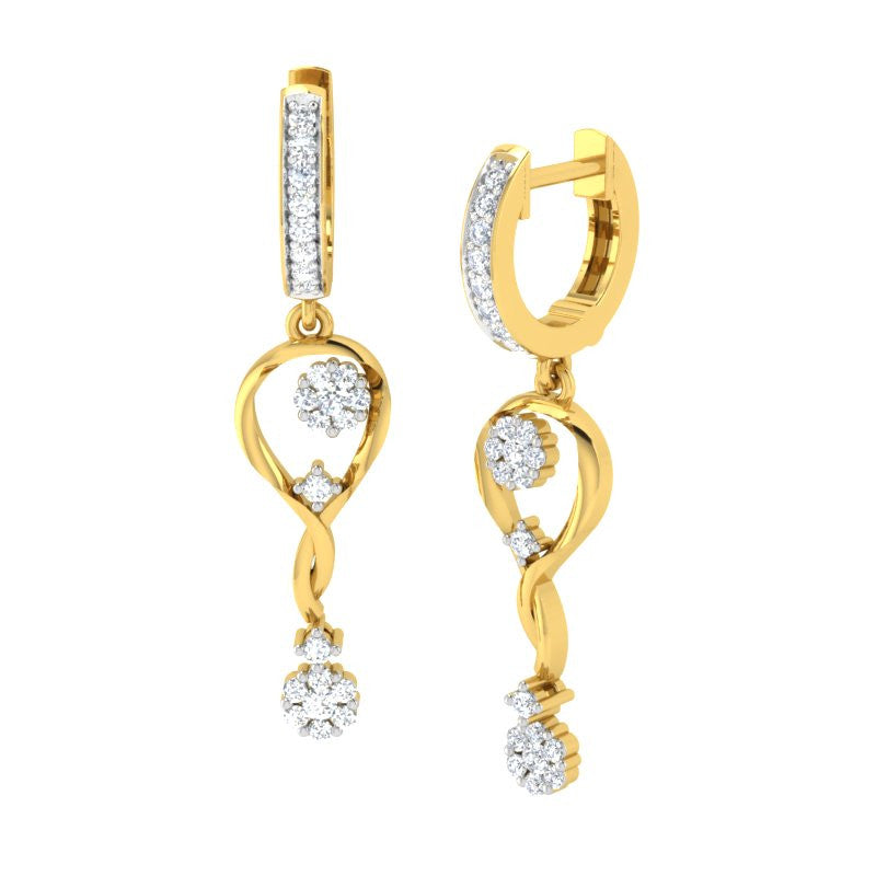 diamond studded gold jewellery - Tersea Dangler Earring - Pristine Fire - 1