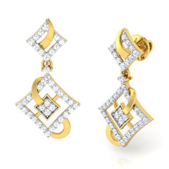 diamond studded gold jewellery - Adana Dangler Earring - Pristine Fire - 1