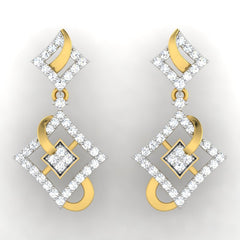 diamond studded gold jewellery - Adana Dangler Earring - Pristine Fire - 2