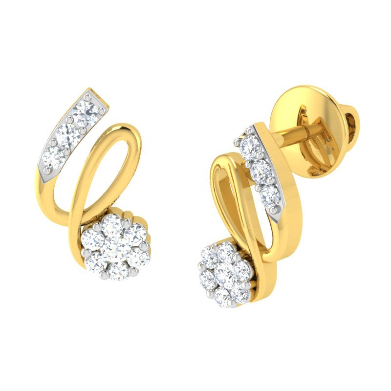 diamond studded gold jewellery - Serah Earring Tops - Pristine Fire - 1