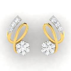 diamond studded gold jewellery - Serah Earring Tops - Pristine Fire - 2