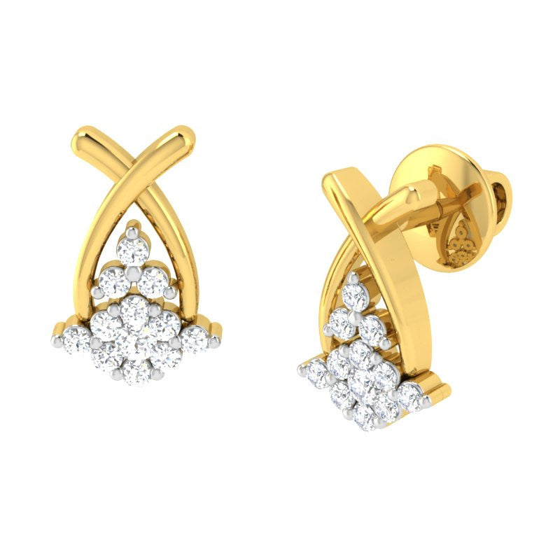 diamond studded gold jewellery - Roxann Earring Tops - Pristine Fire - 1