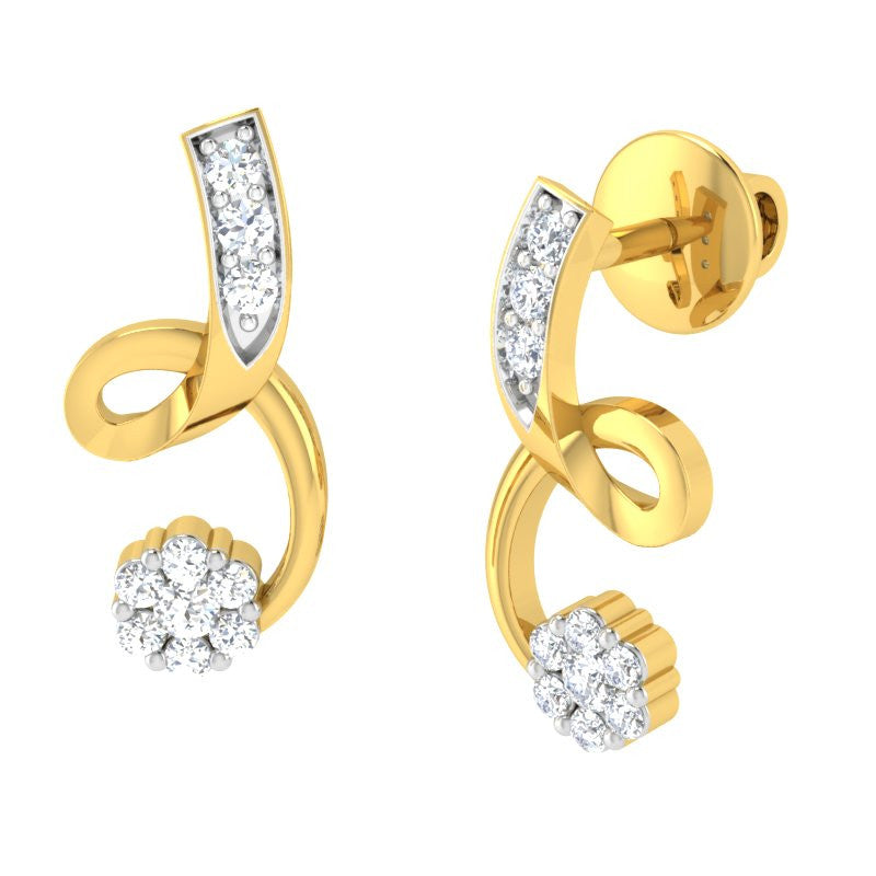 diamond studded gold jewellery - Rukan Earring Tops - Pristine Fire - 1