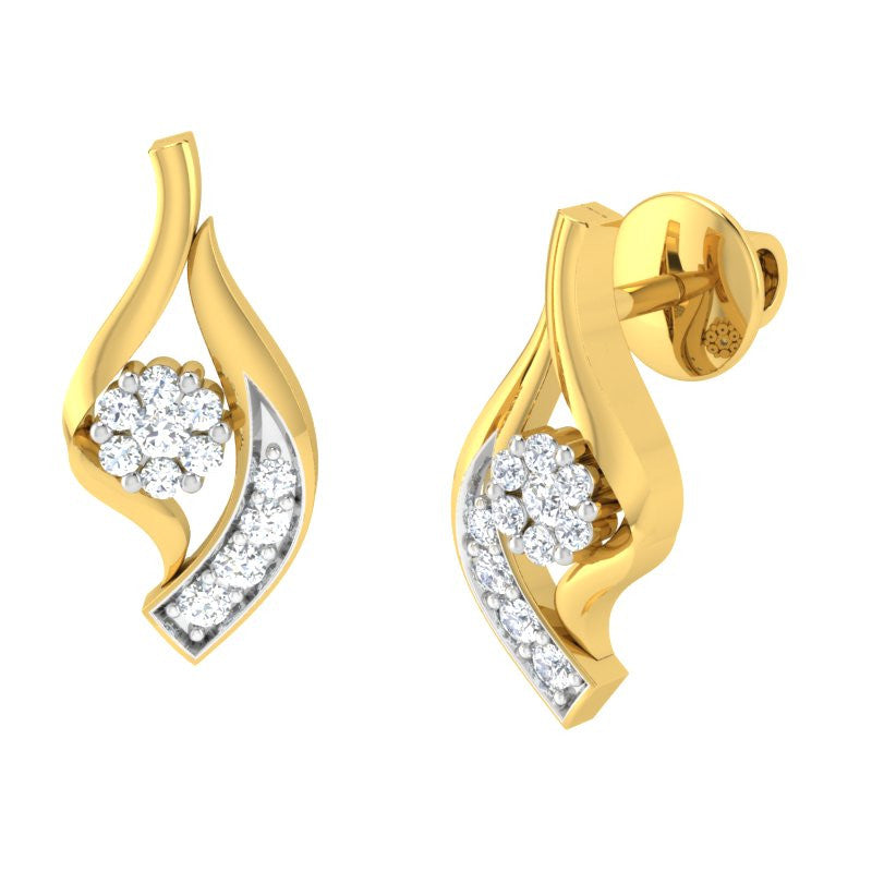 diamond studded gold jewellery - Jamylin Earring Tops - Pristine Fire - 1