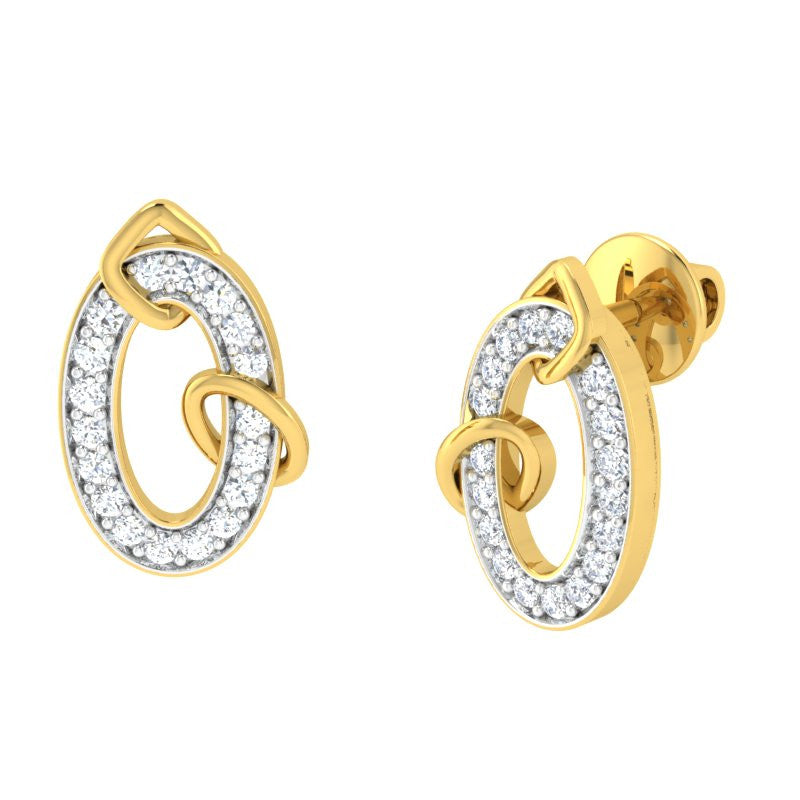 diamond studded gold jewellery - Jora Earring Tops - Pristine Fire - 1