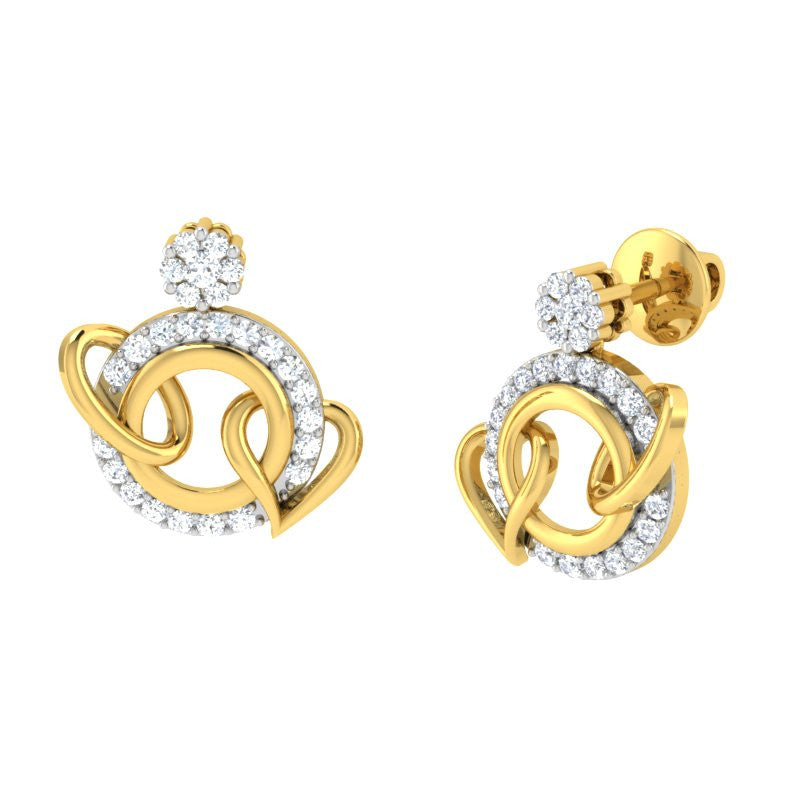 diamond studded gold jewellery - Tamayo Earring Tops - Pristine Fire - 1