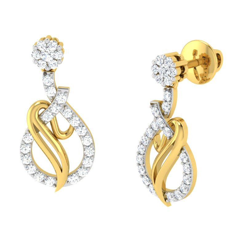 diamond studded gold jewellery - Angelle Dangler Earring - Pristine Fire - 1