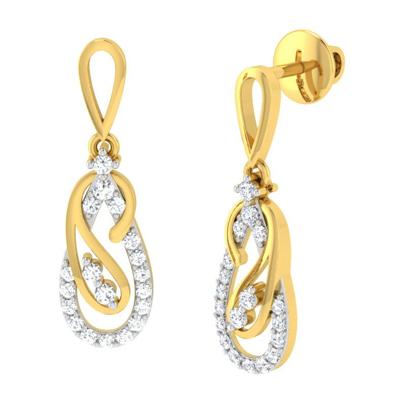 diamond studded gold jewellery - Jolanta Dangler Earring - Pristine Fire - 1