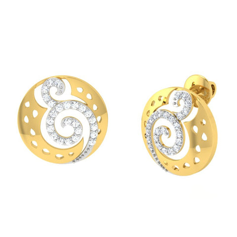 diamond studded gold jewellery - Sondra Earring Tops - Pristine Fire - 1