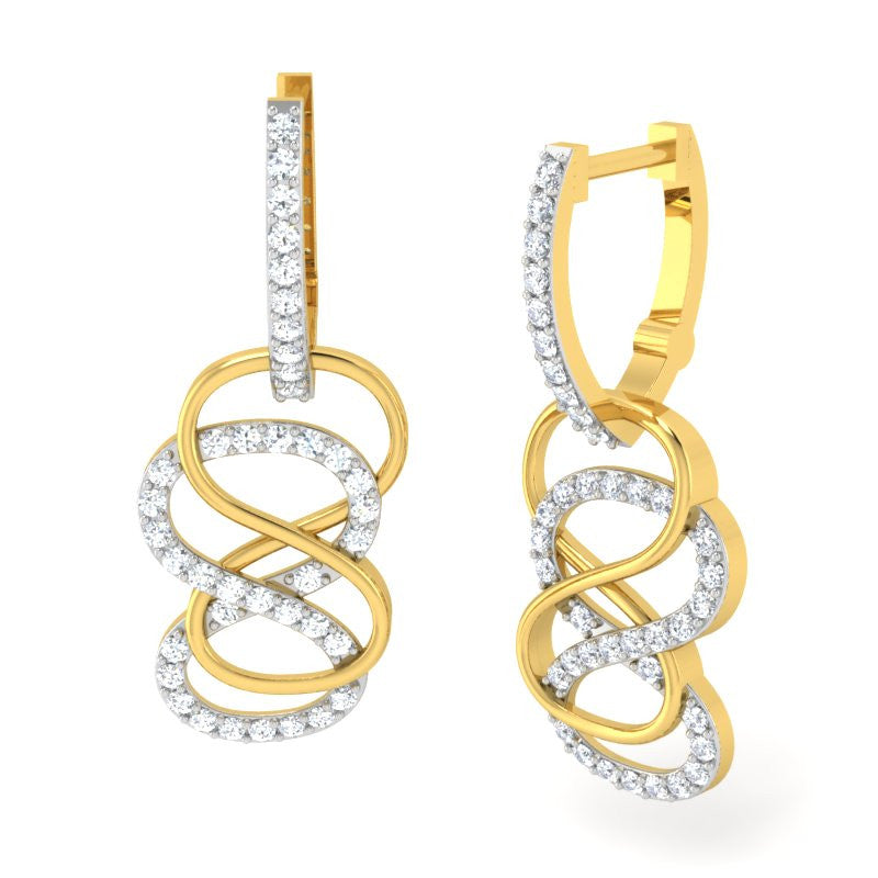 diamond studded gold jewellery - Danna Bali Earring - Pristine Fire - 1
