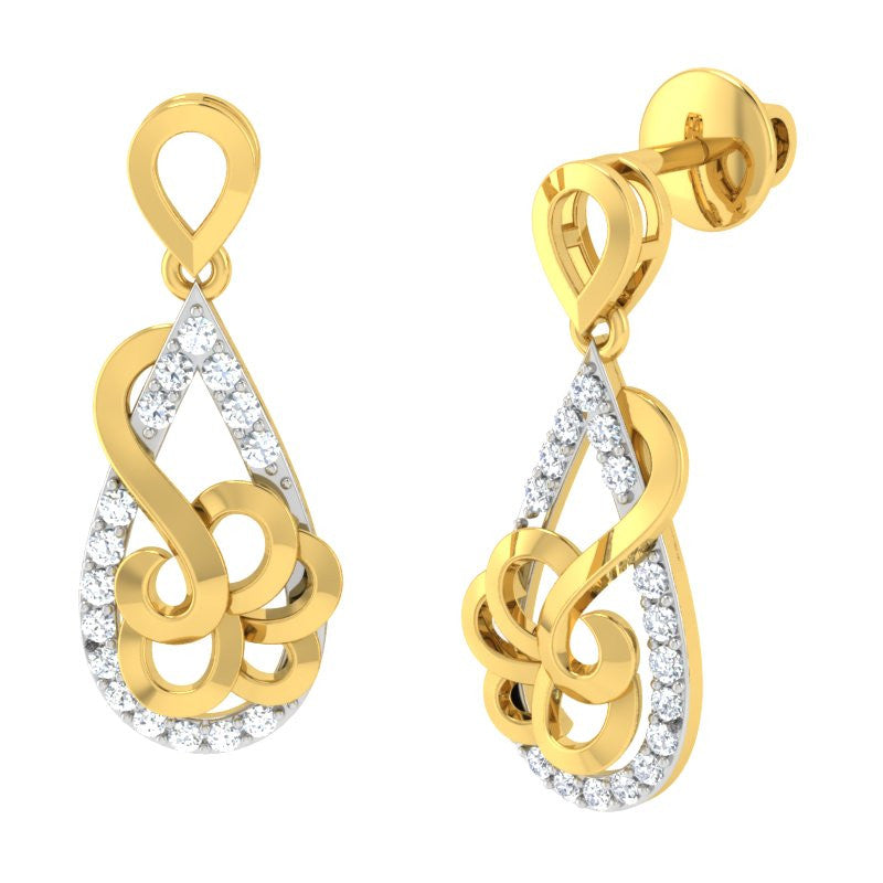 diamond studded gold jewellery - Renae Dangler Earring - Pristine Fire - 1