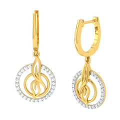 diamond studded gold jewellery - Sihu Dangler Earring - Pristine Fire - 1