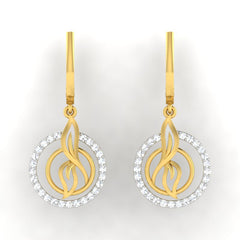 diamond studded gold jewellery - Sihu Dangler Earring - Pristine Fire - 2