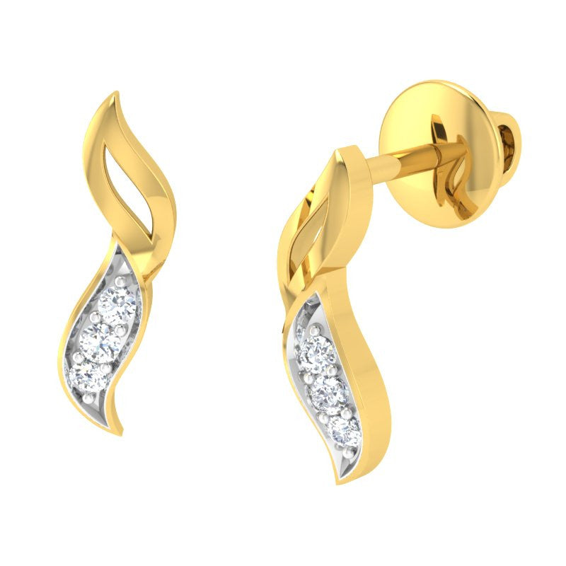 diamond studded gold jewellery - Kelemon Earring Tops - Pristine Fire - 1
