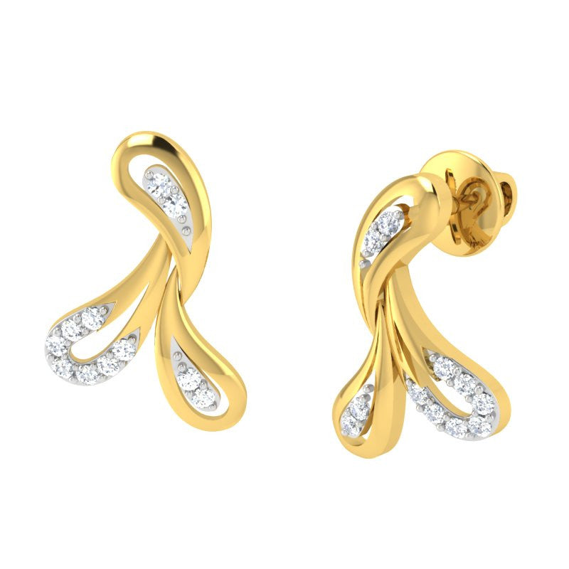 diamond studded gold jewellery - Justice Earring Tops - Pristine Fire - 1