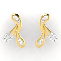 diamond studded gold jewellery - Justice Earring Tops - Pristine Fire - 2