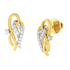 diamond studded gold jewellery - Allegria Earring Tops - Pristine Fire - 1