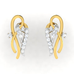 diamond studded gold jewellery - Allegria Earring Tops - Pristine Fire - 2