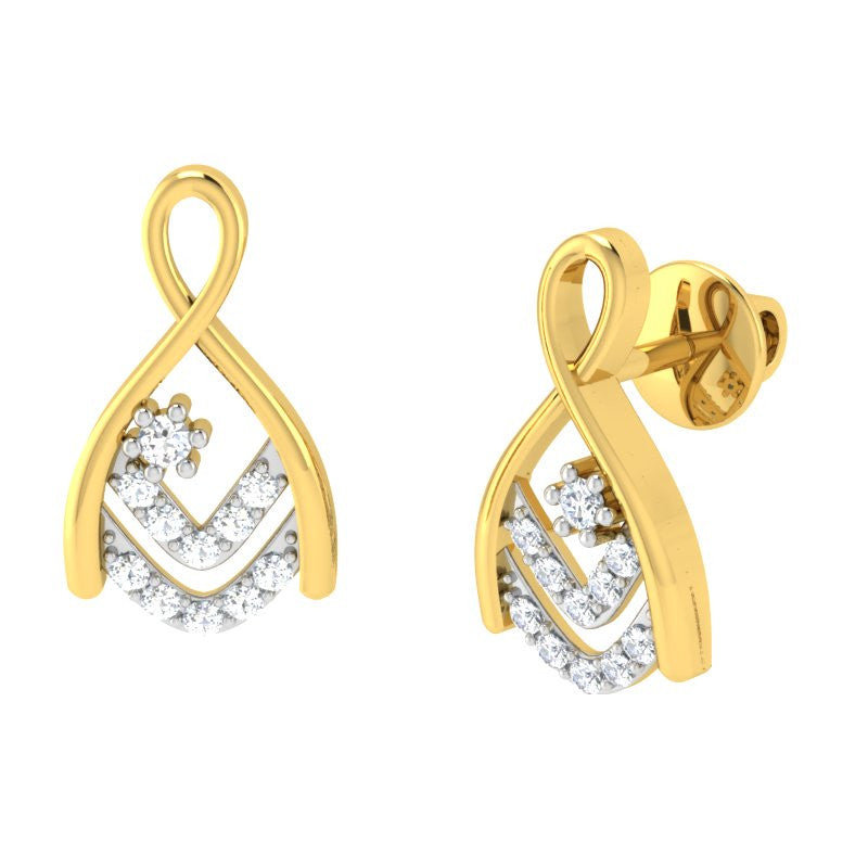 diamond studded gold jewellery - Raelene Earring Tops - Pristine Fire - 1
