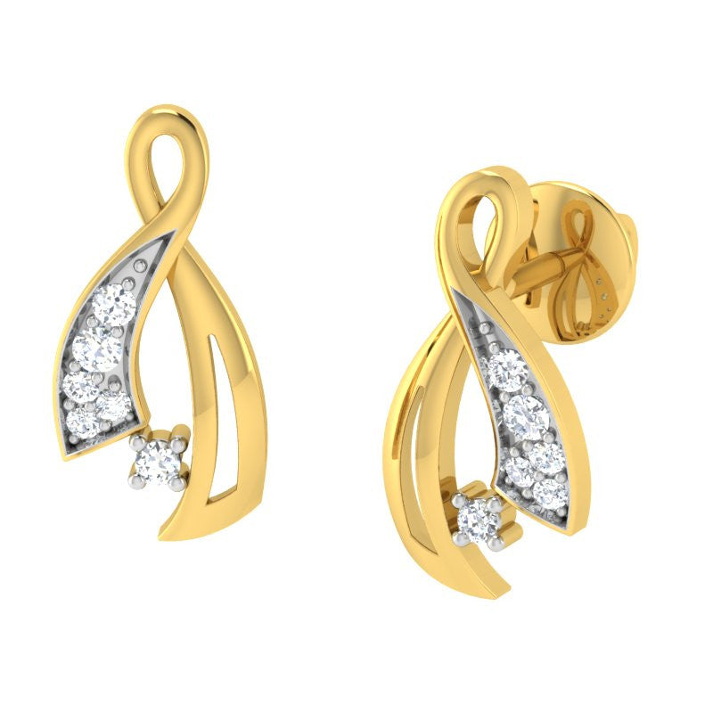 diamond studded gold jewellery - Lindsie Earring Tops - Pristine Fire - 1