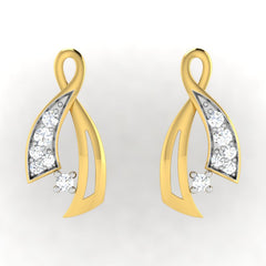 diamond studded gold jewellery - Lindsie Earring Tops - Pristine Fire - 2