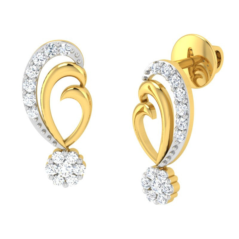 diamond studded gold jewellery - Shanyce Earring Tops - Pristine Fire - 1
