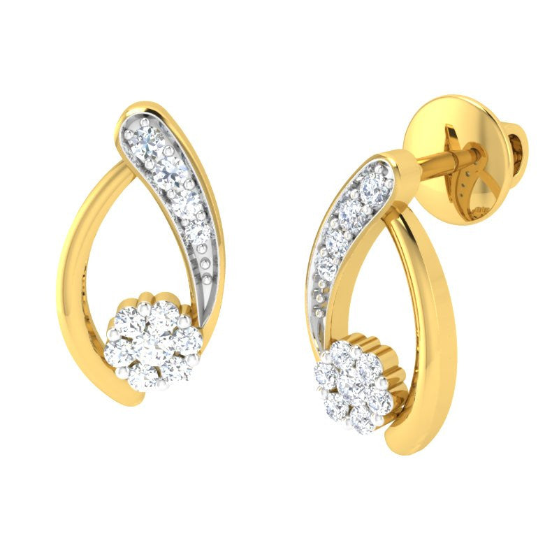 diamond studded gold jewellery - Tashana Earring Tops - Pristine Fire - 1
