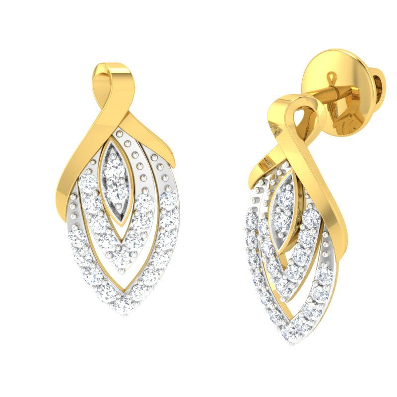 diamond studded gold jewellery - Shamika Earring Tops - Pristine Fire - 1