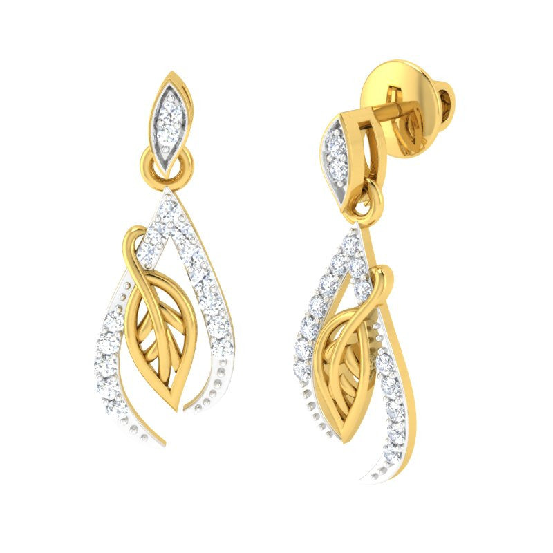 diamond studded gold jewellery - Mikesha Dangler Earring - Pristine Fire - 1