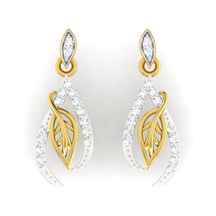 diamond studded gold jewellery - Mikesha Dangler Earring - Pristine Fire - 2