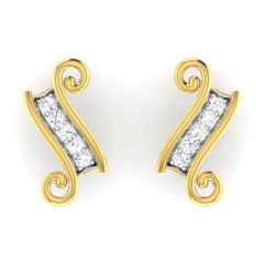 diamond studded gold jewellery - Greer Earring Tops - Pristine Fire - 2