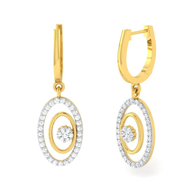 diamond studded gold jewellery - Amity Bali Earring - Pristine Fire - 1