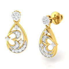 diamond studded gold jewellery - Sherron Dangler Earring - Pristine Fire - 1