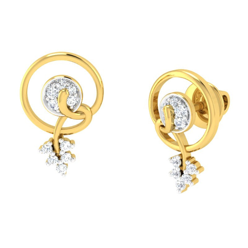 diamond studded gold jewellery - Myriah Earring Tops - Pristine Fire - 1